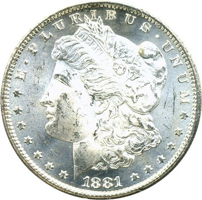 Image of 1881-CC $1 PCGS/CAC MS63 - OGH Rattler Holder - No Reserve!