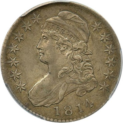 Image of 1814 50c PCGS/CAC XF45 (O-105a, Single Leaf)