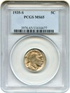 Image of 1935-S 5c PCGS MS65 - No Reserve!