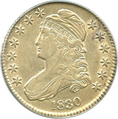 Image of 1830 50c PCGS AU53 (Small 0)