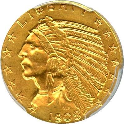 Image of 1909-D $5 PCGS MS62 - No Reserve