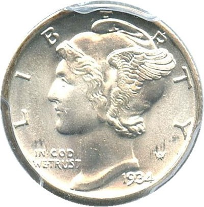 Image of 1934 10c PCGS MS67 FB