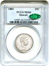 Image of Hawaii 1883 25c PCGS/CAC MS66 - Popular Territorial Issue