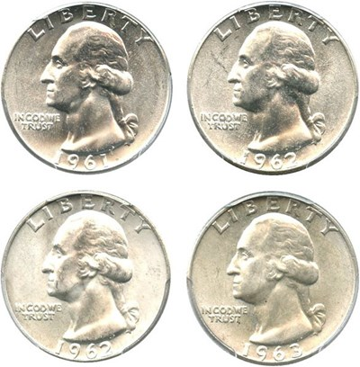 Image of Collector Lot of Washington Quarters: 1961,62,62-D,63-D PCGS MS64/65  (4 Coins) - No Reserve!