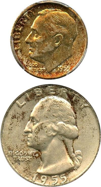 Image of Collector Lot: 1955-D 10c & 25c PCGS AU58, MS63 - (2 Coins) - No Reserve!