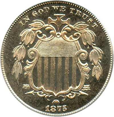 Image of 1875 5c PCGS/CAC Proof 65 - No Reserve!