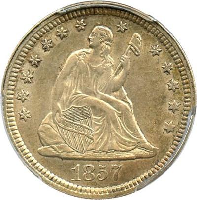 Image of 1857 25c PCGS/CAC AU58