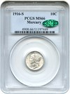 Image of 1916-S Mercury 10c PCGS/CAC MS66