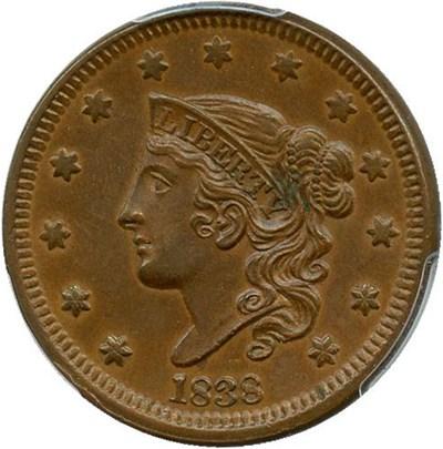 Image of 1838 1c PCGS/CAC AU55