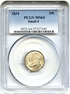 Image of 1834 10c PCGS MS64 (Small 4) Great Type Coin