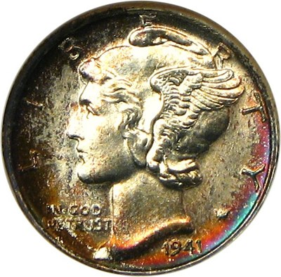 Image of 1941-D 10c NGC MS67 FB - Colorful Toning