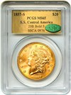 Image of 1857-S $20 PCGS/CAC MS65 (20B, Bold S) ex: S.S. Central America Shipwreck * Gold Foil *