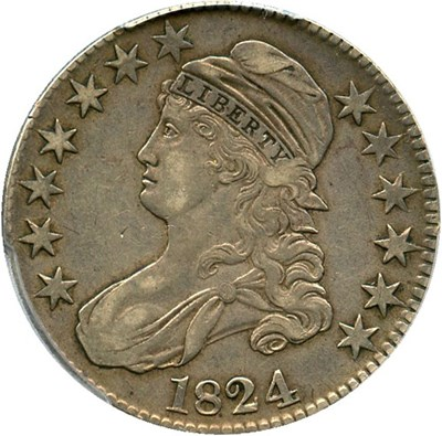 Image of 1824 50c PCGS/CAC XF45