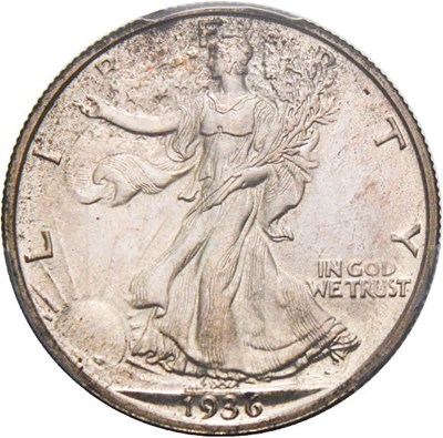 Image of 1936 50c PCGS/CAC Proof 64 - Scarce First Year Proof - No Reserve!