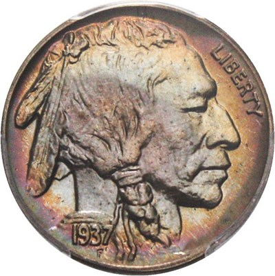 Image of 1937 5c PCGS Proof 66 - Colorful Rainbow Toning
