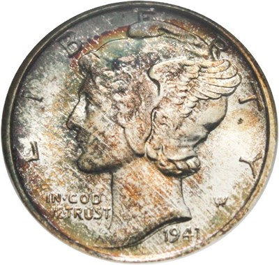 Image of 1941-S 10c NGC/CAC MS67 - Colorful Toning - No Reserve!