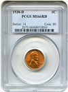 Image of 1938-D 1c PCGS MS66 RD - No Reserve