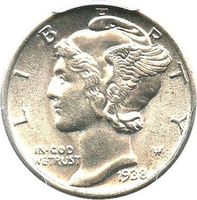 Image of 1938 10c PCGS MS65