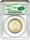 Image of 1936-S Rhode Island 50c PCGS/CAC MS66 OGH