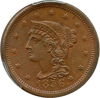 Image of 1856 1c PCGS/CAC MS65 BN (Upright 5)