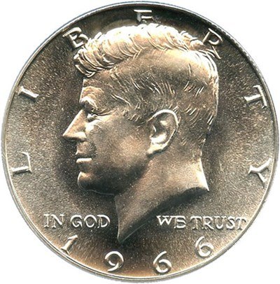 Image of 1966 50c PCGS MS67 (Special Mint Set, Doubled Die Obverse)