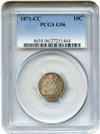 Image of 1871-CC 10c PCGS Good-6 - Key Carson City Seated Dime