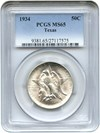 Image of 1934 Texas 50c PCGS MS65