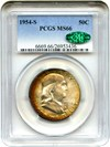 Image of 1954-S 50c PCGS/CAC MS66 - Colorful Toning