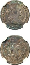 Image of 1797 H10c NGC/CAC MS62 (16 Stars, LM-2) Rare High Grade Early Half Dime with Colorful Toning
