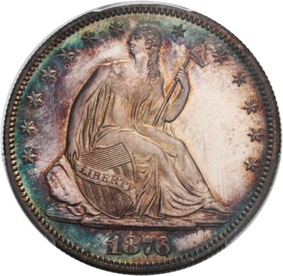 Image of 1876 50c PCGS Proof 63 - Colorful Toning