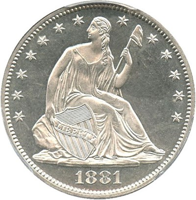 Image of 1881 50c PCGS Proof 63 Cameo