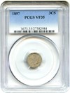 Image of 1857 3cS PCGS VF35 - No Reserve!