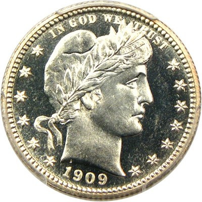 Image of 1909 25c PCGS/CAC Proof 67