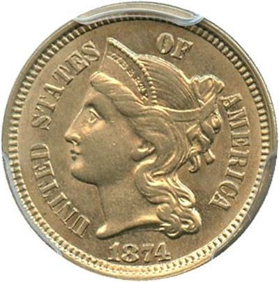 Image of 1874 3cN PCGS AU58