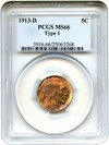 Image of 1913-D 5c PCGS MS66 (Type 1) - Colorful Toning