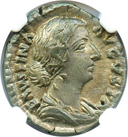 Image of 147-175/6 AD Faustina Jr. AR Denarius NGC Ch XF (Ancient Roman) Strike: 5/5, Surface Quality: 5/5.
