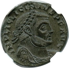 Image of 308-324 AD Licinius I BI Reduced Nummus NGC AU (Ancient Roman) Strike: 4/5, Surface Quality: 5/5.