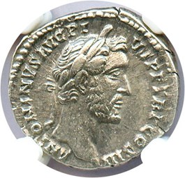 Image of AD 138-161 Antoninus Pius AR Denarius NGC XF (Ancient Roman) Strike: 5/5, Surface Quality: 4/5.