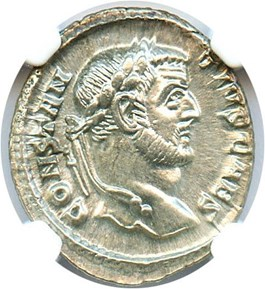 Image of AD 305-306 Constantinius I AR Argenteus NGC Ch AU (Ancient Roman) Strike: 4/5, Surface Quality: 5/5