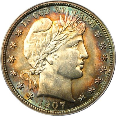 Image of 1907-S 50c PCGS/CAC MS65 - Rainbow Toned Gem, Rare Date ex: Friend Collection