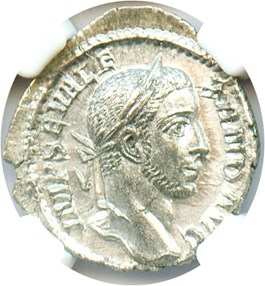 Image of 222-235 AD Sev. Alexander AR Denarius NGC AU (Ancient Roman) Strike: 3/5, Surface Quality: 4/5.