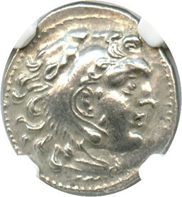 Image of 336-323 BC Alexander III AR Drachm NGC Ch XF (Ancient Greek) Strike: 5/5, Surface Quality: 4/5.