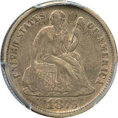 Image of 1875-CC 10c PCGS VF35 (Mintmark Below)