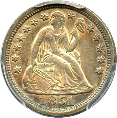 Image of 1851 10c PCGS AU50