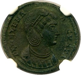Image of 324-328/30 Helena AE3 (Bi Nummus) NGC Ch AU (Ancient Roman) Strike: 5/5, Surface Quality: 3/5.