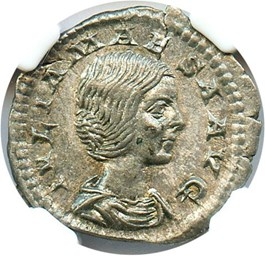 Image of 218-224/5 Julia Maesa AR Denarius NGC XF (Ancient Roman) Strike: 4/5, Surface Quality: 4/5.