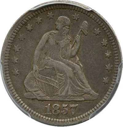 Image of 1857 25c PCGS VF35