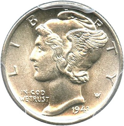 Image of 1943-S 10c PCGS MS66 FB