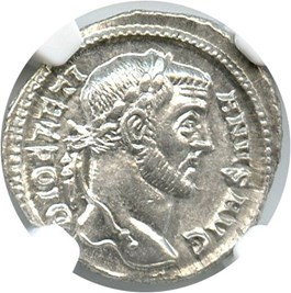 Image of 284-305 AD Diocletian AR Argenteus NGC Ch AU (Ancient Roman) Strike: 4/5, Surface Quality: 5/5.