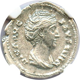 Image of 138-140/1 AD Faustina Sr. AR Denarius NGC AU (Ancient Roman) Strike: 5/5, Surface Quality: 3/5.